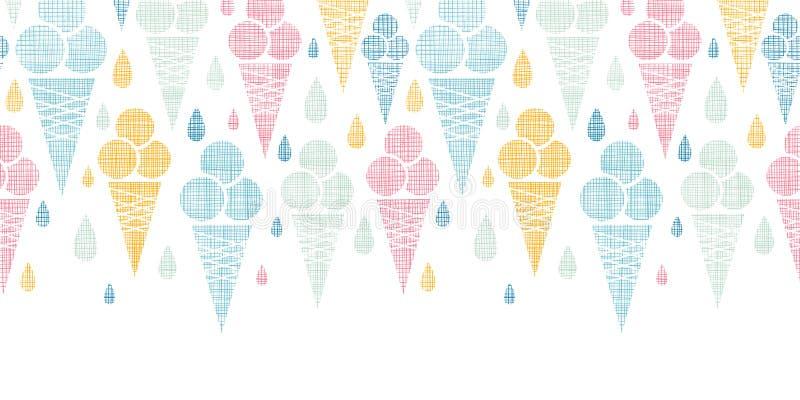 Horizontal colorido de matéria têxtil dos cones de gelado ilustração royalty free