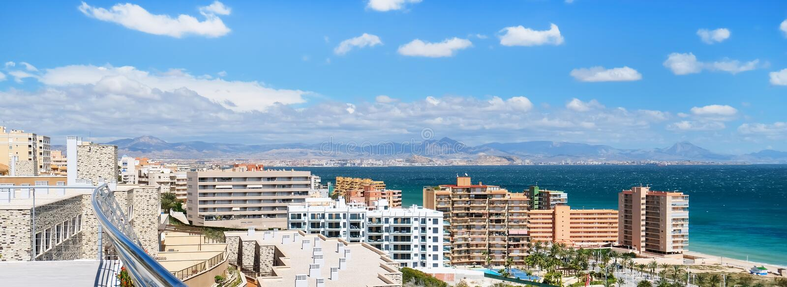 Horizontal cropped image coastline of Alicante. Spain stock image