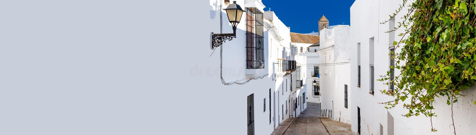 Horizontal cropped image narrow street of Vejer de la Frontera spanish picturesque village stock photography