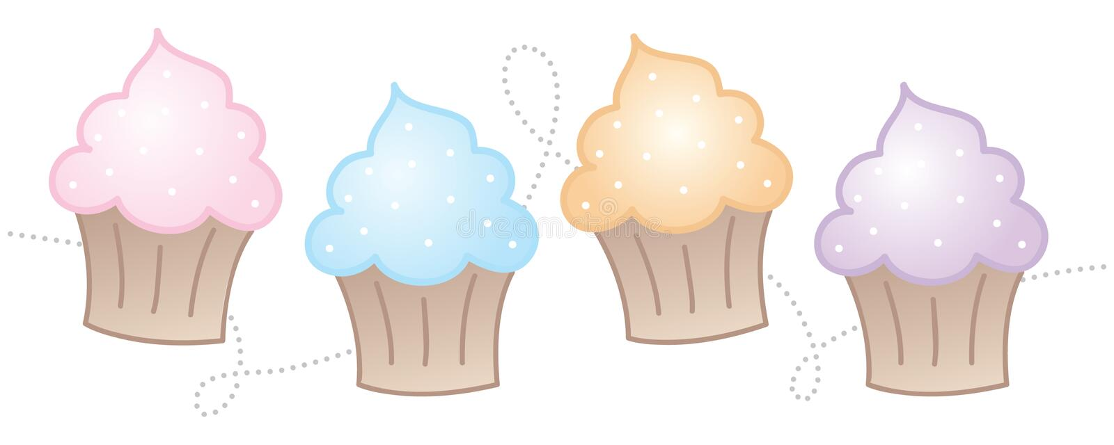 Horizontal Cupcakes. Cute and fun horizontal cupcakes royalty free illustration