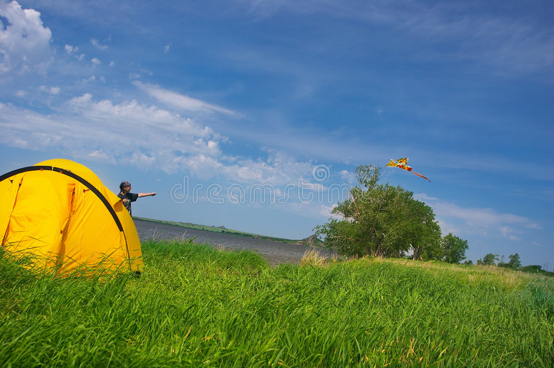 Horizontal d'été avec le cerf-volant image stock
