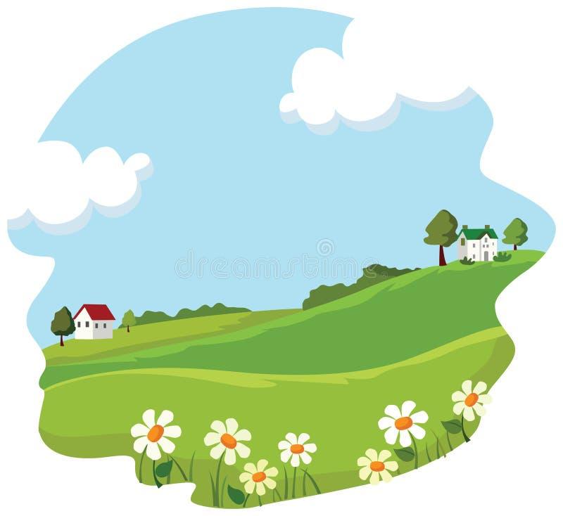 Horizontal d'été de village illustration stock