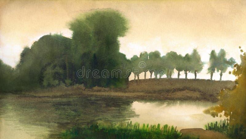 Horizontal d'aquarelle Arbres sur le rivage du lac tranquille illustration stock