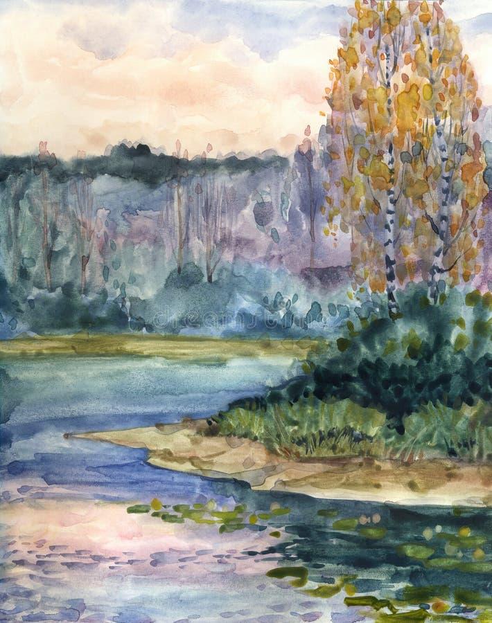 Horizontal d'aquarelle Soirée d'automne sur le lac illustration libre de droits