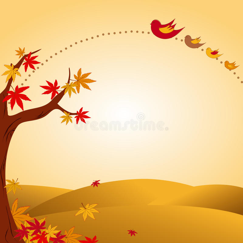 Horizontal d'automne avec l'arbre et l'oiseau photos libres de droits
