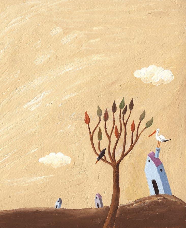 Horizontal d'automne avec l'arbre, les maisons et la cigogne illustration de vecteur