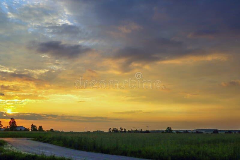 Horizontal d'?t? avec l'herbe verte, la route et les nuages image libre de droits