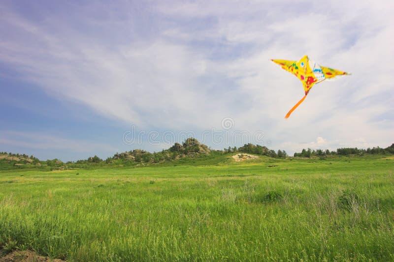 Horizontal de côte avec le cerf-volant dans le ciel photographie stock libre de droits