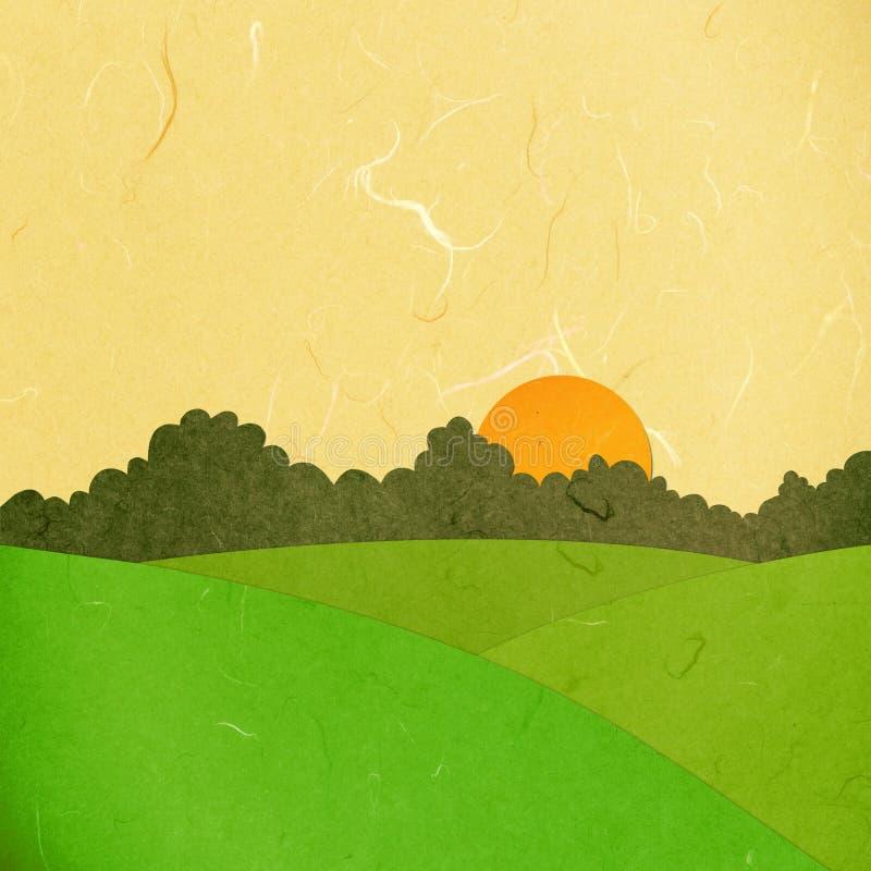 Horizontal de coucher du soleil de coupure de papier de riz illustration stock