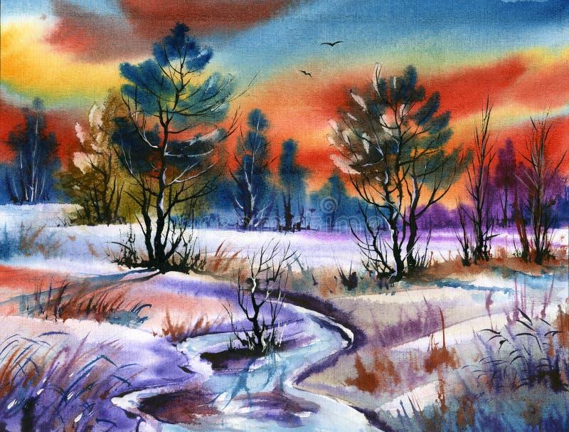 Horizontal de couleur d'eau illustration de vecteur