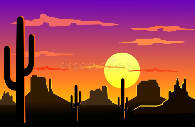 Horizontal de désert de l'Arizona illustration stock