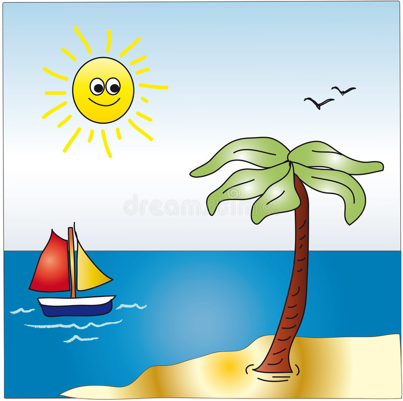 Horizontal de dessin animé de mer illustration libre de droits