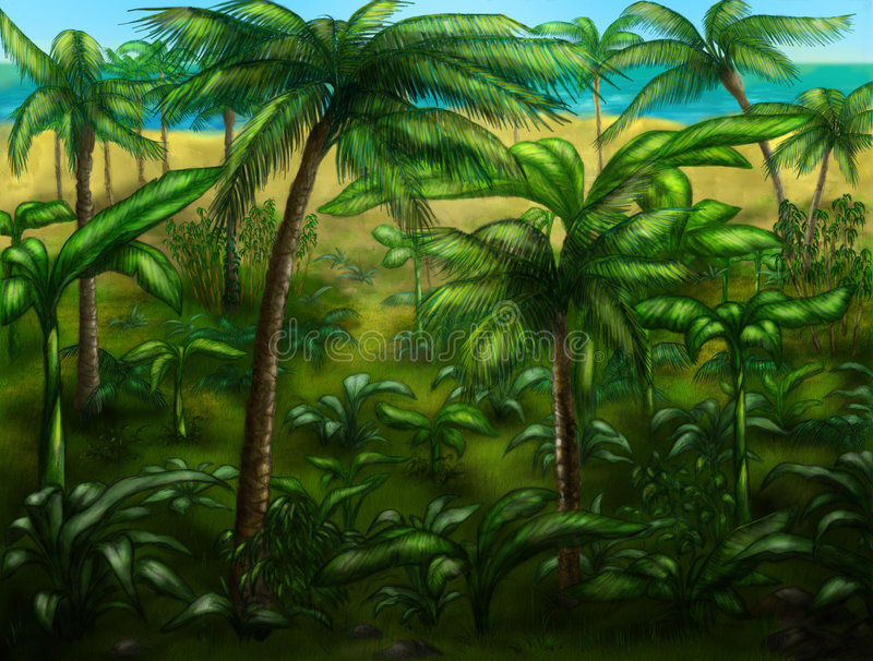 Horizontal de jungle illustration stock