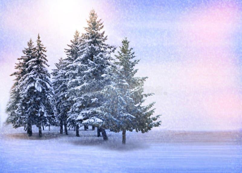 Horizontal de l'hiver arbres de Noël couverts de neige dans les montagnes Nuit de Noël de forêt d'hiver Chutes de neige, temp?te  photo stock