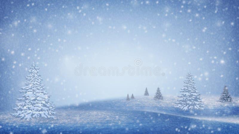 Horizontal de l'hiver arbres de Noël couverts de neige sur les pentes de montagne Humeur de No?l Fond de l'hiver photographie stock libre de droits