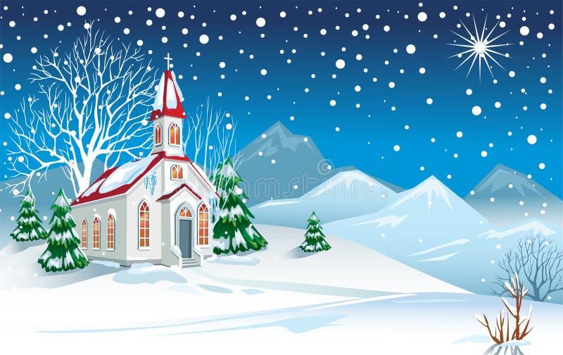 Horizontal de l'hiver avec l'église illustration stock