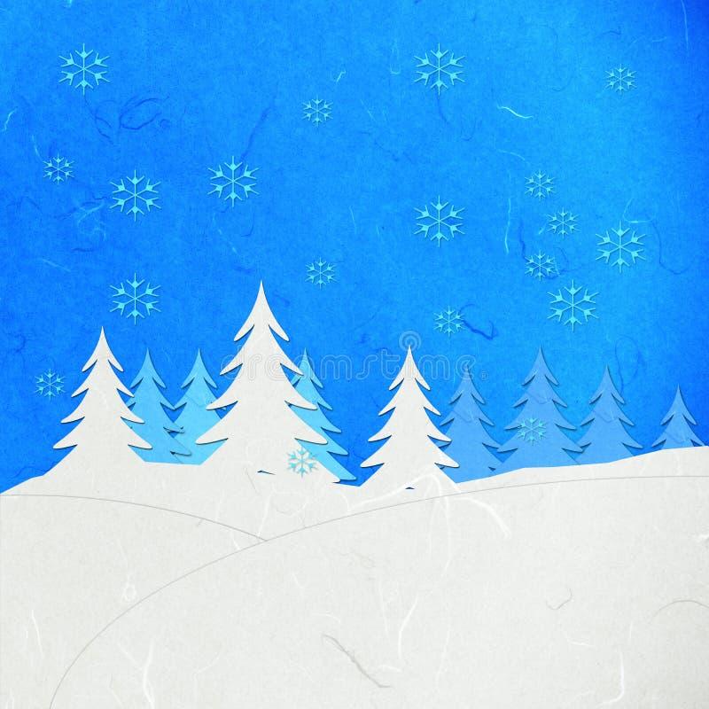 Horizontal de l'hiver de coupure de papier de riz avec la neige illustration libre de droits