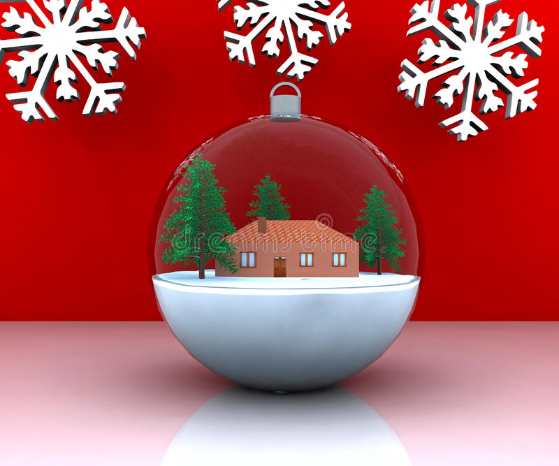 Horizontal de l'hiver de Noël de carillon avec la maison illustration stock