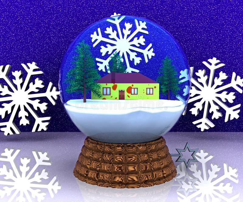 Horizontal de l'hiver de Noël de carillon avec la maison illustration de vecteur