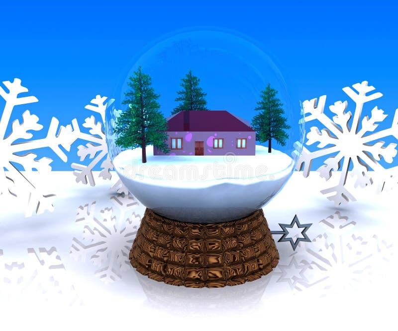 Horizontal de l'hiver de Noël de carillon avec la maison illustration libre de droits
