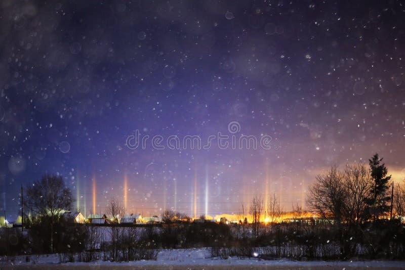 Horizontal de l'hiver de nuit image libre de droits