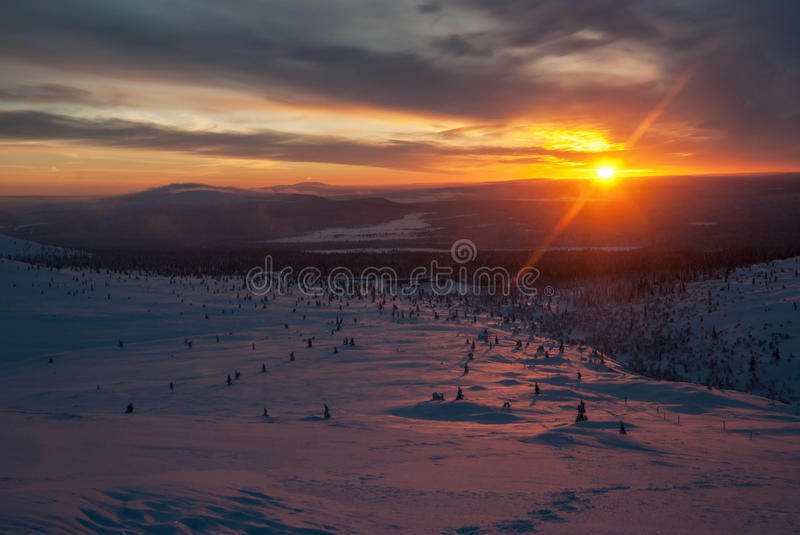 Horizontal de l'hiver en Finlande photo stock