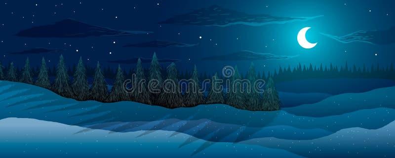 Horizontal de l'hiver Forêt de sapins pendant la nuit Lune parmi des étoiles et des nuages illustration de vecteur