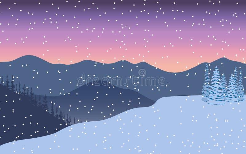Horizontal de l'hiver Même le crépuscule, montagnes éloignées, arbre lumineux décoré de Noël, cadeau, bourrasque de neige, illustration libre de droits