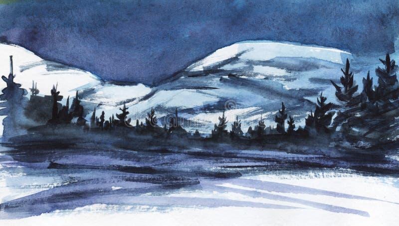 Horizontal de l'hiver Montagnes neigeuses éloignées Silhouette foncée de forêt impeccable, de vallée couverte de neige ou de lac  illustration stock