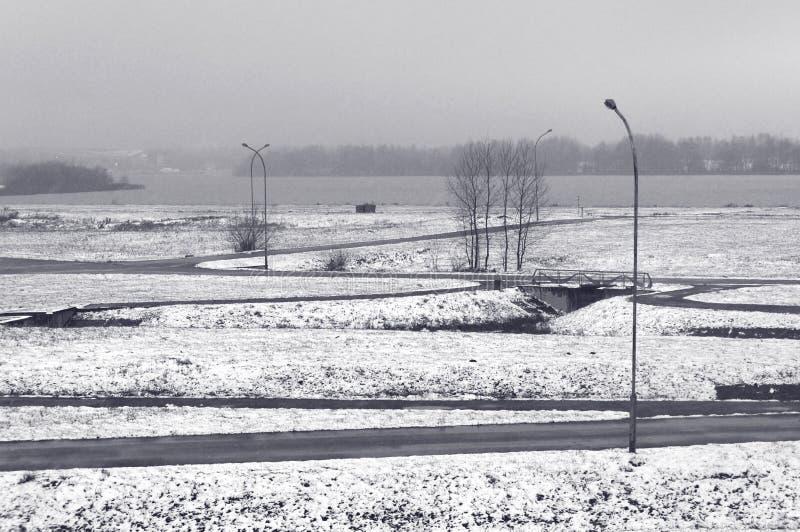 Horizontal de l'hiver Neige, lac, routes images libres de droits