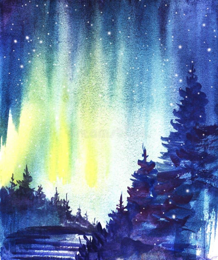 Horizontal de l'hiver Silhouette foncée de forêt impeccable, vallée couverte de neige Lumières nordiques Illustration tirée par l illustration libre de droits