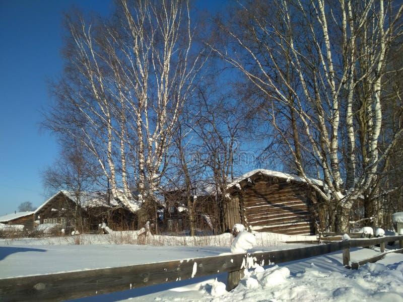 Horizontal de l'hiver Village et arbres d'hiver couverts de neige photo stock