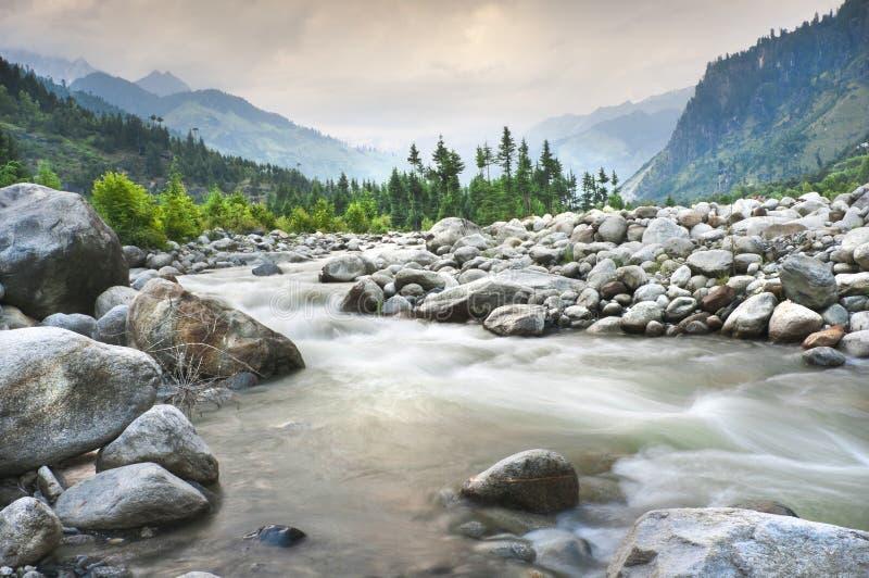 Horizontal de montagne avec le fleuve et la forêt images stock