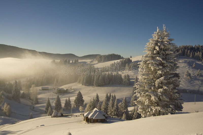Horizontal de montagne de l'hiver photo libre de droits