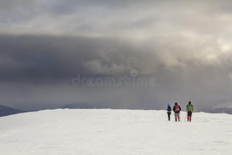 Horizontal de montagne de l'hiver Trois randonneurs de touristes de voyageurs dans le bri photos libres de droits