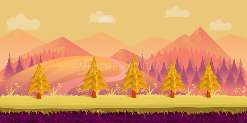 Horizontal de nature de dessin animé La terre, herbe, arbres, montagnes, nuages et ciel posés illustration stock
