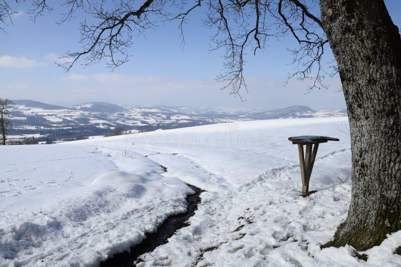 Horizontal de neige près de Cruseilles, Savoie, France images stock