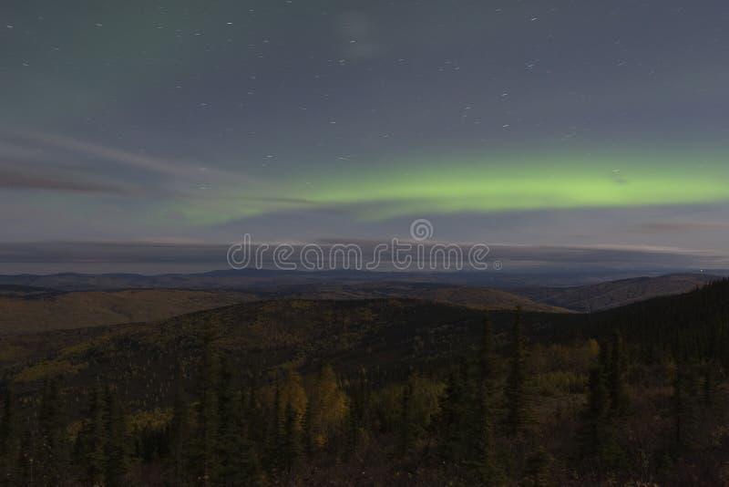 Horizontal de nuit avec la lumière nordique image stock