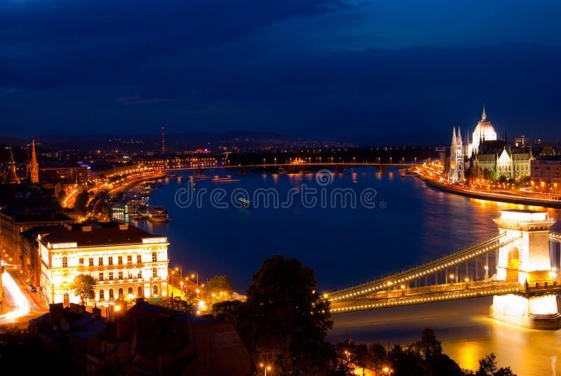 Horizontal de nuit de Budapest photo libre de droits