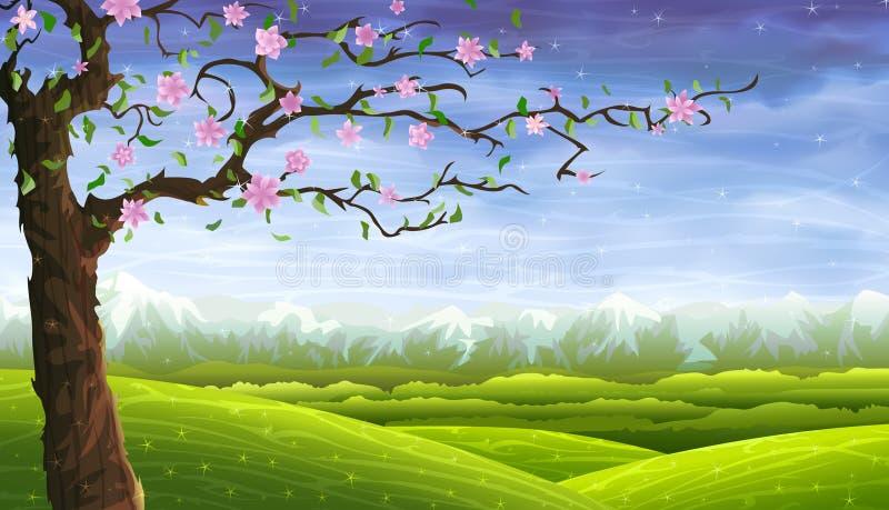 Horizontal de roulement de conte de fées et un arbre de floraison illustration stock
