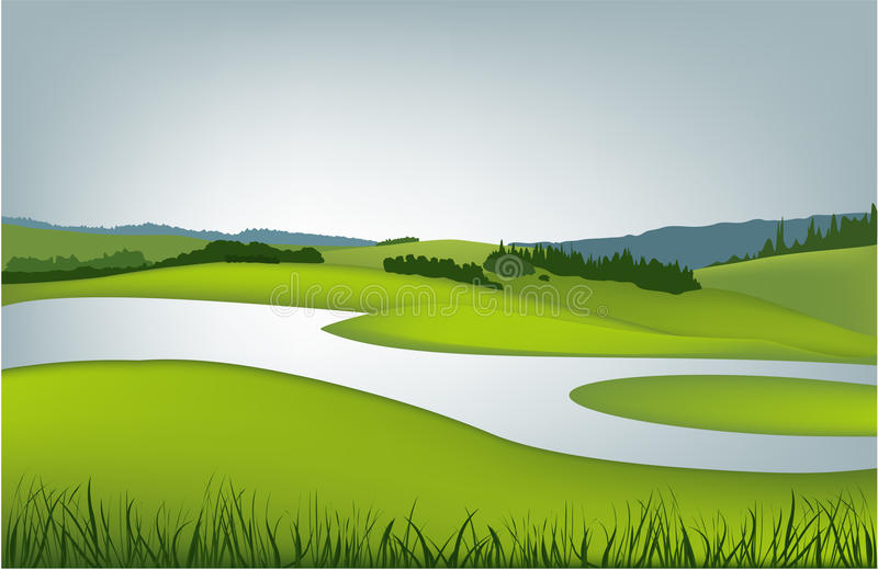Horizontal de source de montagne illustration stock
