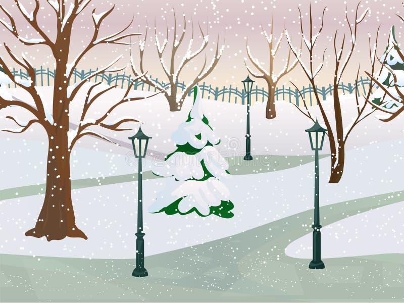 horizontal de stationnement de l'hiver illustration libre de droits