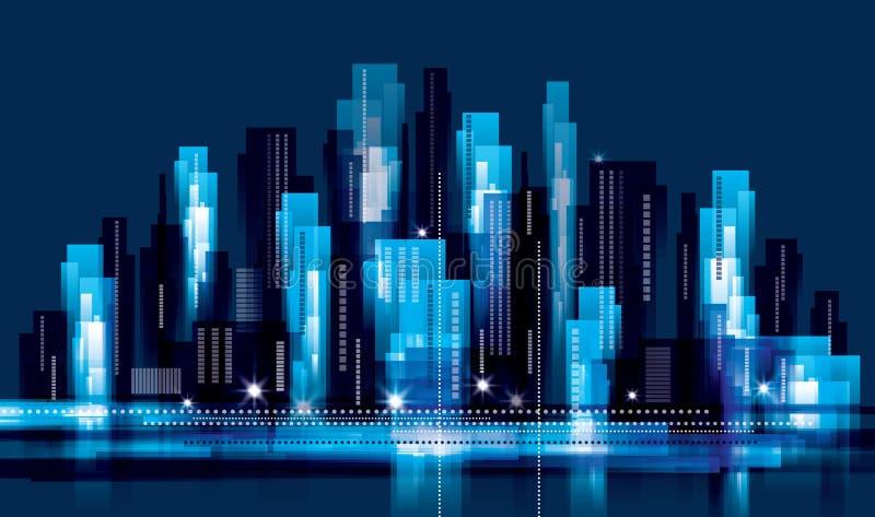 Horizontal de ville la nuit illustration stock