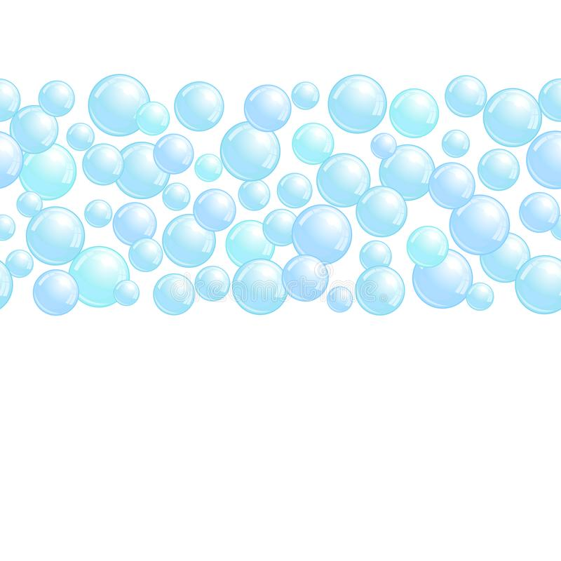 Horizontal decorative line with soap bubbles, background with realistic water beads, pink blobs, vector foam. Sphere illustration royalty free illustration