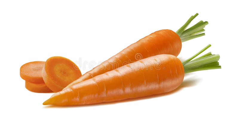 Horizontal double carrot and pieces isolated on white. Background as package design element stock photography