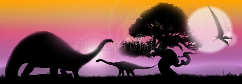 Horizontal doux de dinosaurs illustration libre de droits
