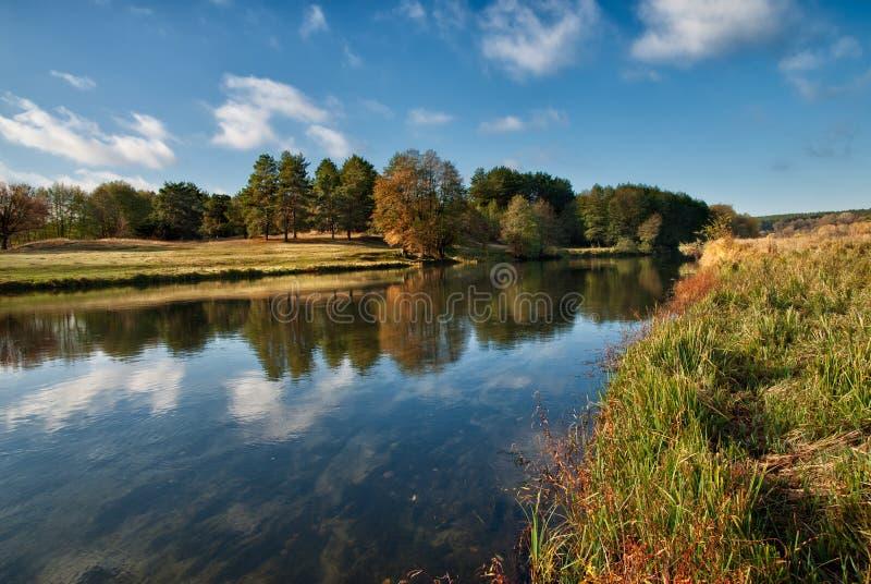 Horizontal du fleuve avec des réflexions photos stock