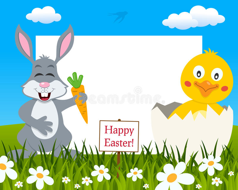 Horizontal Easter Frame - Rabbit & Chick stock image