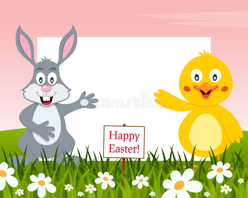 Horizontal Easter Frame - Rabbit and Chick royalty free stock photography