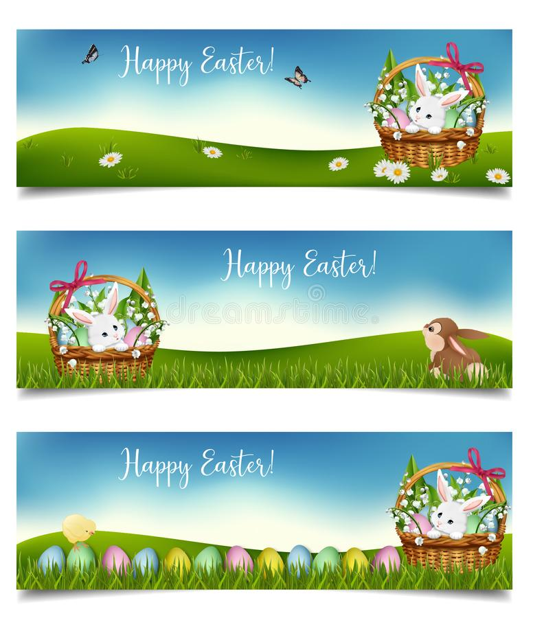 Horizontal Easter holiday banners. Vector stock illustration